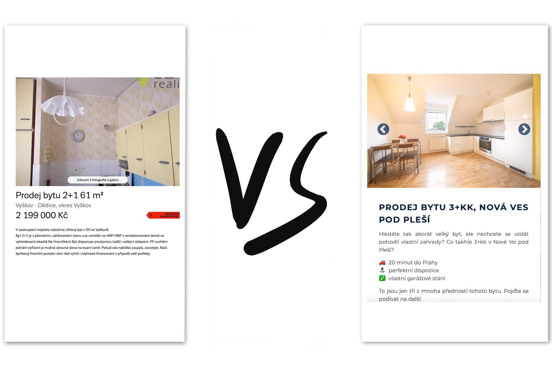Porovnání inzerátů realitní kanceláře vs. Realitní agentury R21